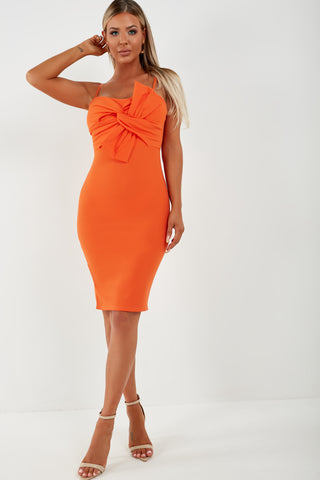 Eastah Orange Bow Front Dress