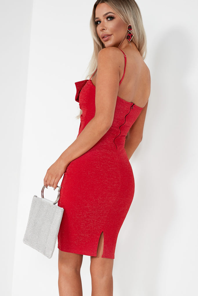 Eastah Red Glitter Bow Front Dress