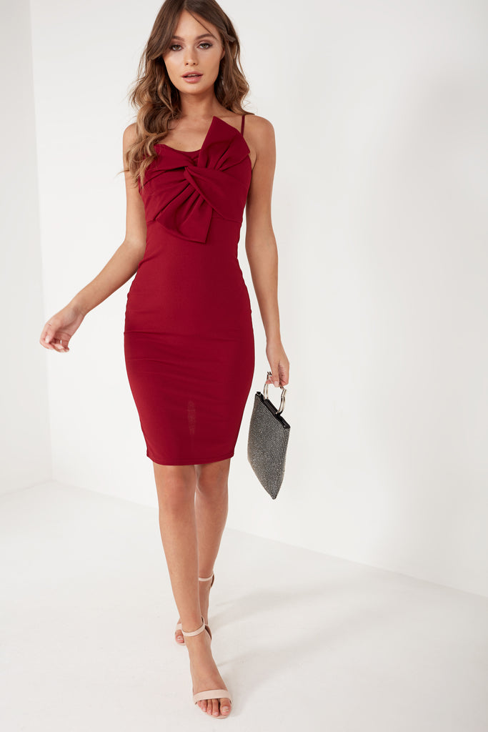 Eastah Wine Bow Front Dress