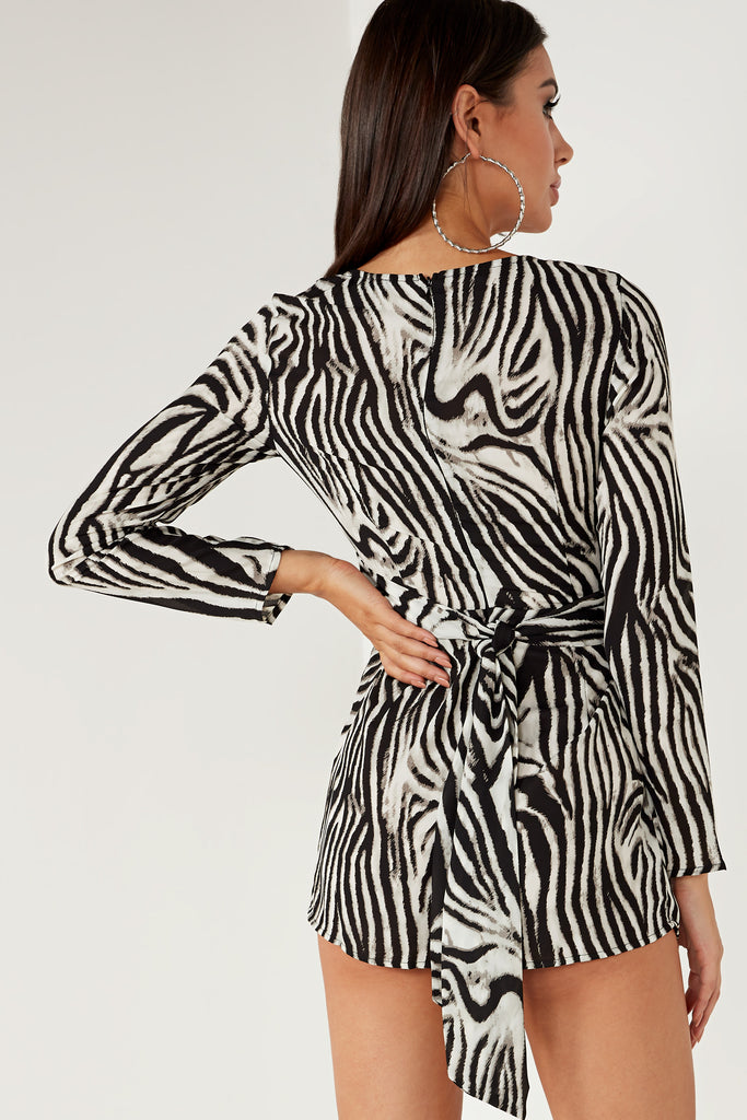 Ebany Zebra Print Long Sleeve Playsuit (1643658477634)