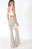 Ebo Grey and Beige Striped Flared Trousers