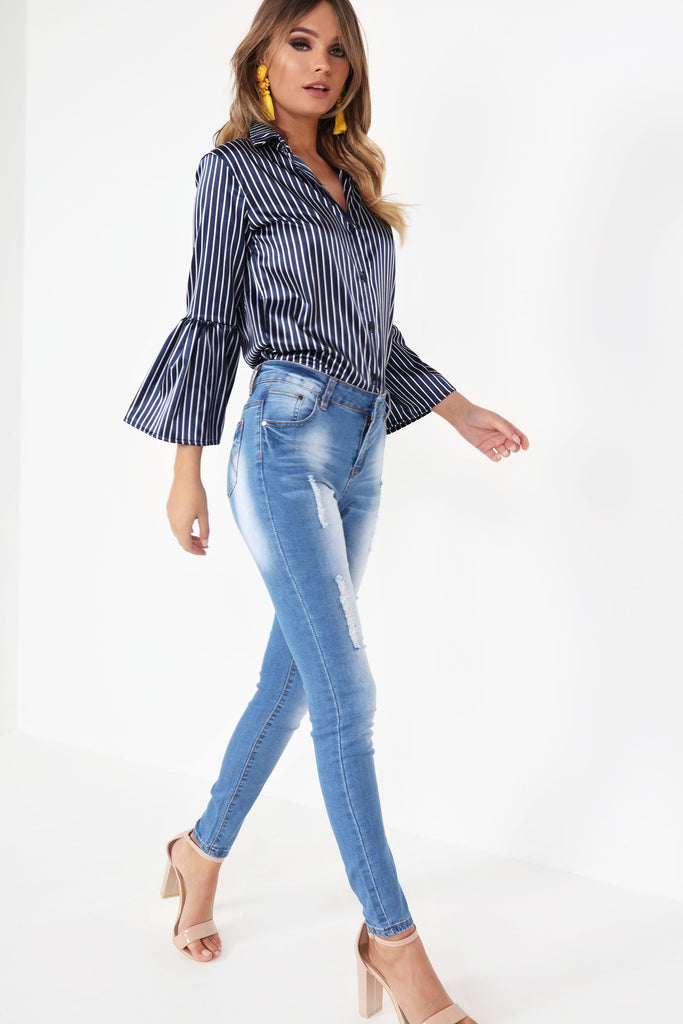 Eda Navy Striped Bell Sleeved Blouse