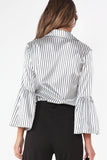 Eda White Striped Bell Sleeved Blouse