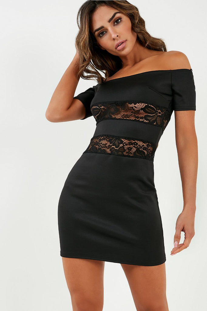 Ede Black Scuba Lace Panel Dress