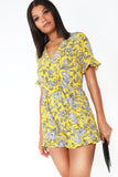 Edee Yellow Floral Split Back Playsuit