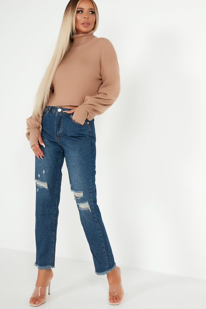 Edith Camel Ribbed Roll Neck Crop Jumper