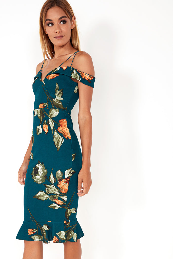Effa Teal Rose Print Frill Hem Dress