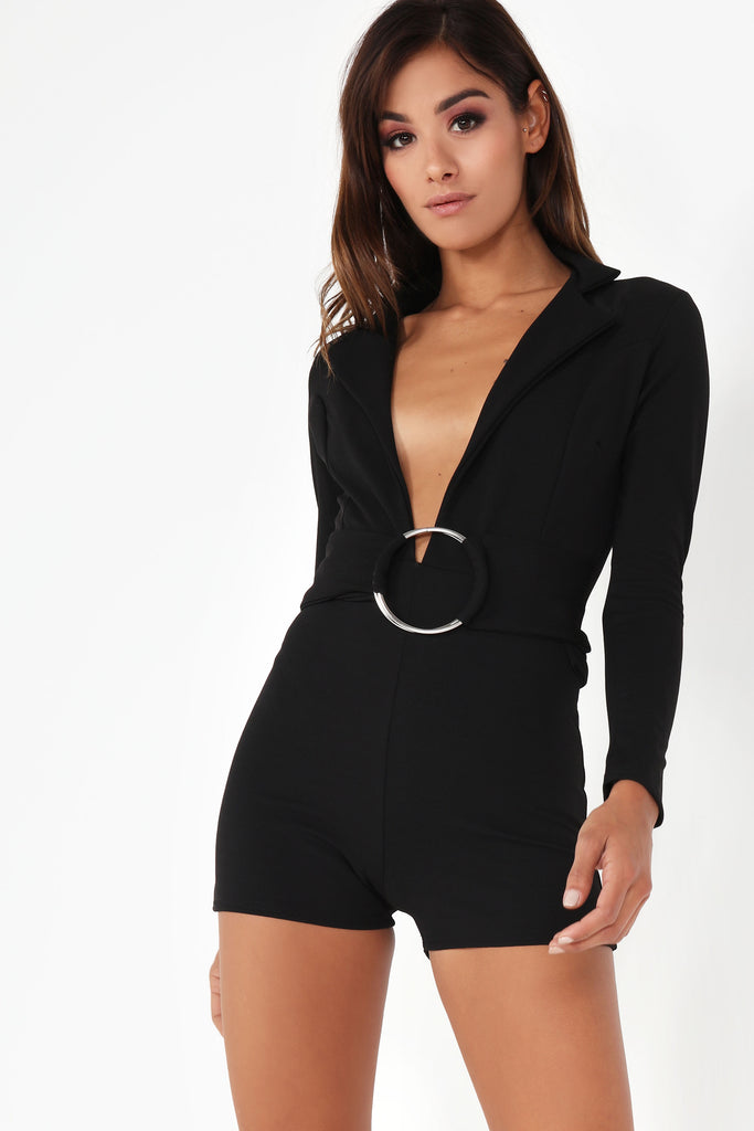Effie Black Long Sleeve Playsuit