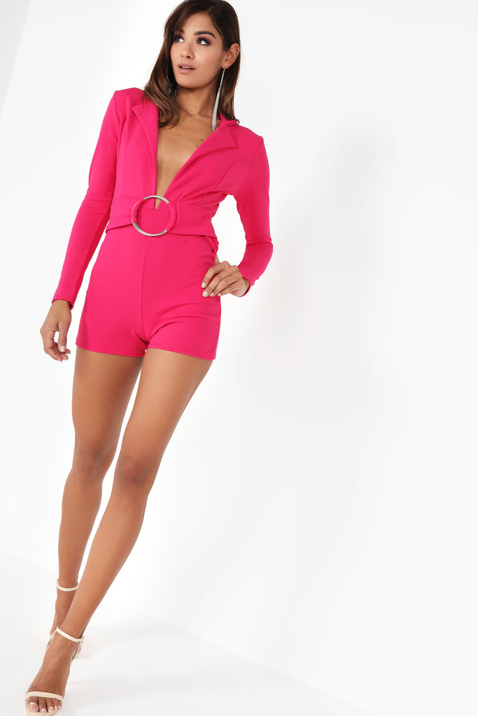 Effie Pink Long Sleeve Playsuit (115176505360)