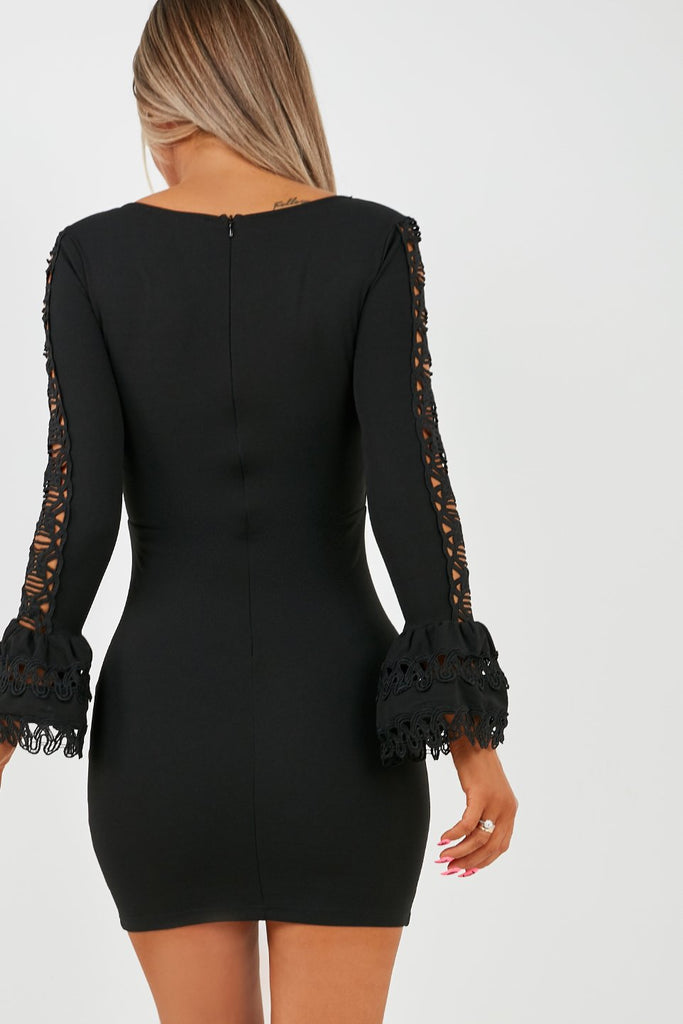 Eileen Black Crochet Sleeve Mini Dress (2027891523650)