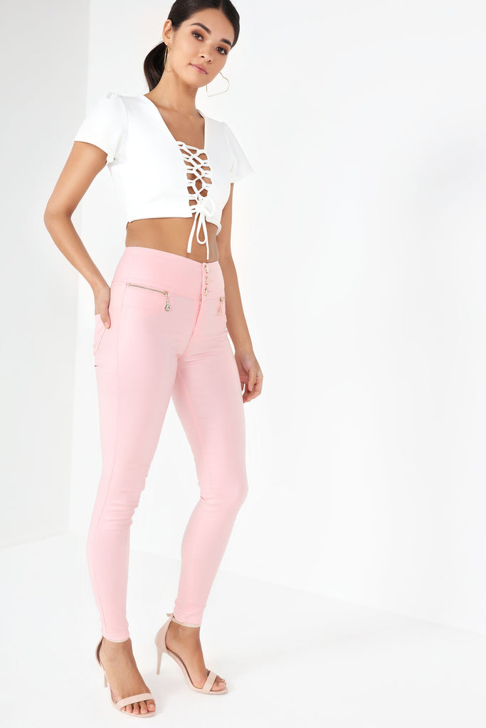 Eithne Pink Wax High Waist Trousers