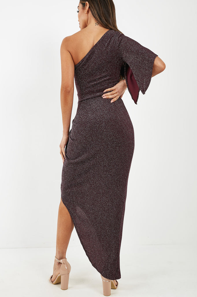 Elaine Plum Sparkle One Shoulder Maxi Dress (4299764203586)