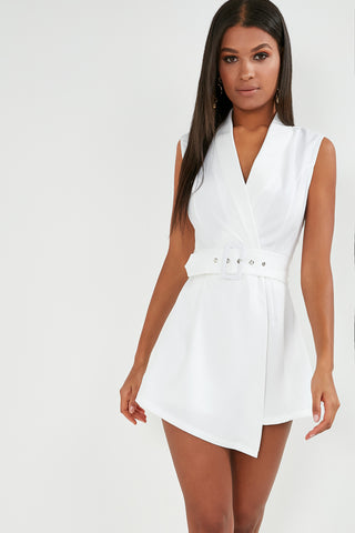 c66573557e18 Elaine White Belted Wrap Playsuit