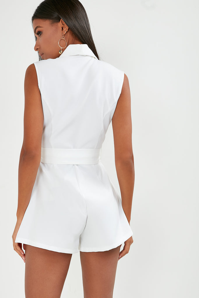 Elaine White Belted Wrap Playsuit