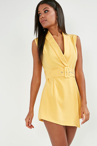 594dc0bc0a Elaine Yellow Belted Wrap Playsuit