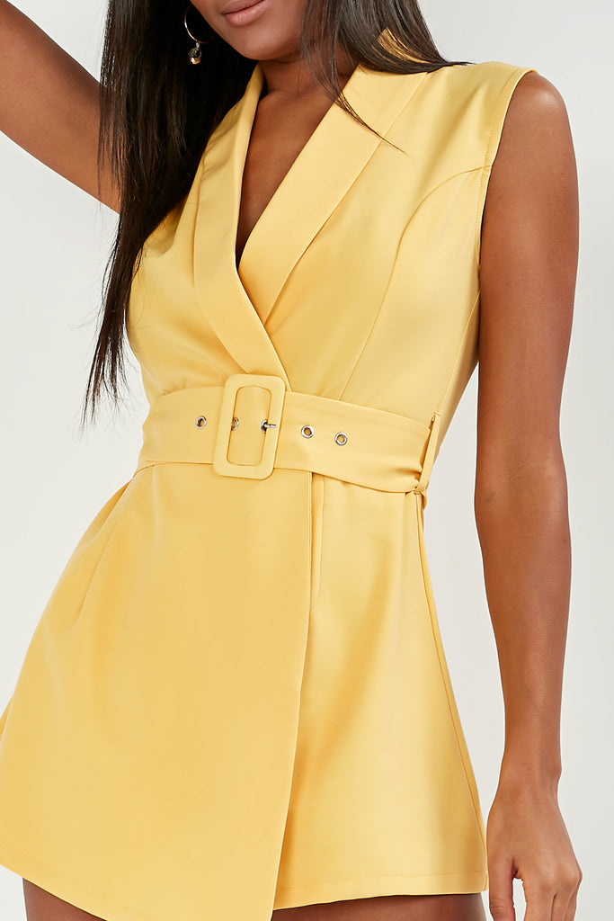 Elaine Yellow Belted Wrap Playsuit