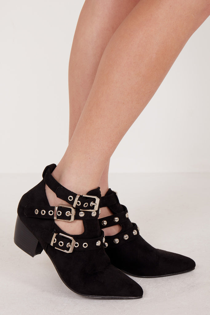 Elainey Black Suede Studded Ankle Boot