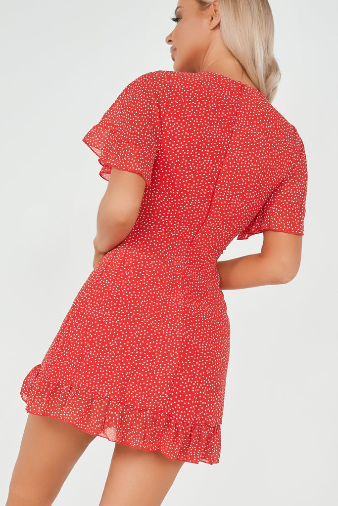 Eleanor Red Dolka Dot Frill Hem Dress