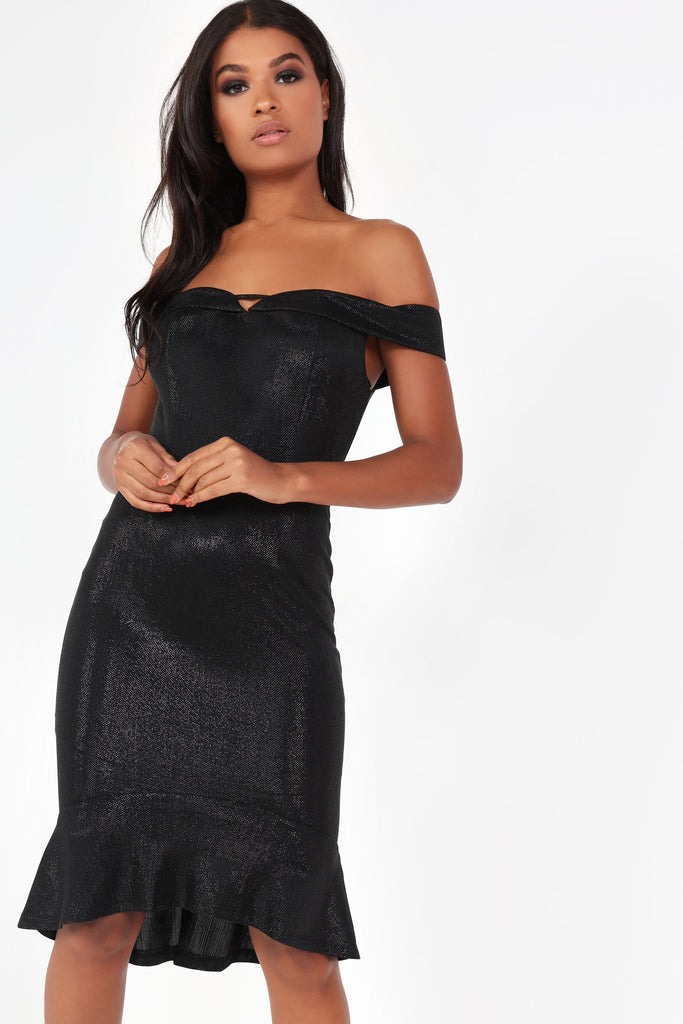 Elen Black Metallic Bardot Dress