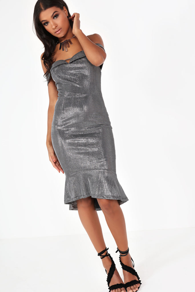 Elen Silver Metallic Bardot Dress (9936749712)