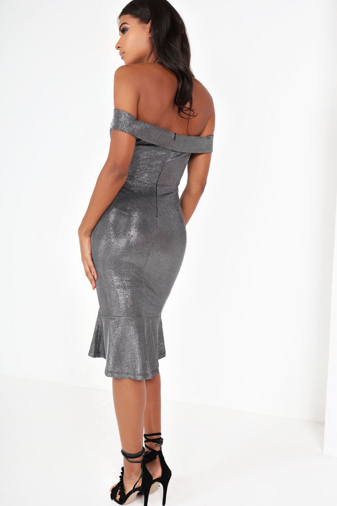 Elen Silver Metallic Bardot Dress
