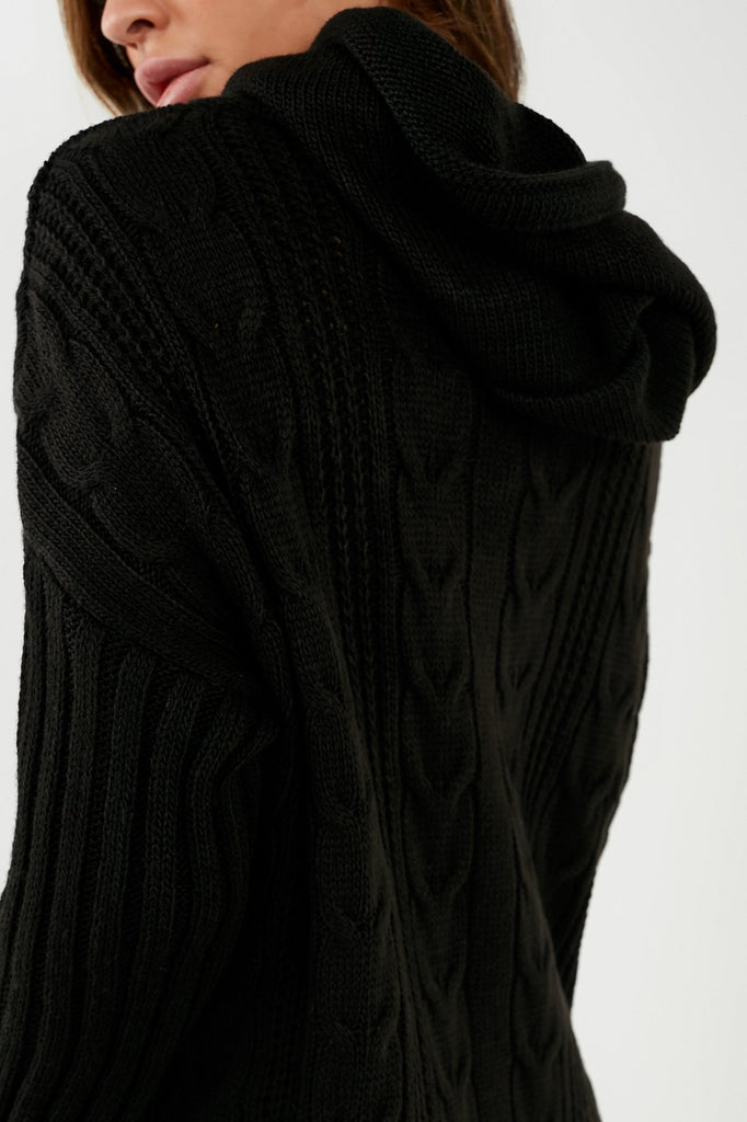 Elena Black Cable Knit Hooded Jumper