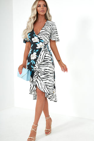 75e2fa4e658 Elfrida Blue Floral Zebra Print Wrap Dress