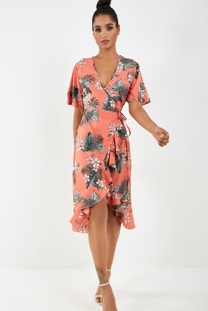 Elfrida Coral Floral Print Wrap Dress