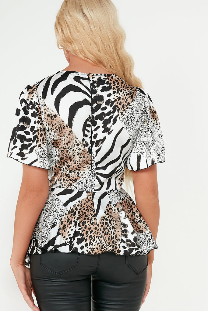 Elisha White Mixed Animal Flared Top