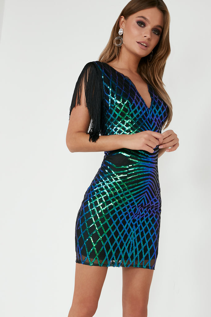 Eliza Black Iridescent Sequin Tassel Dress