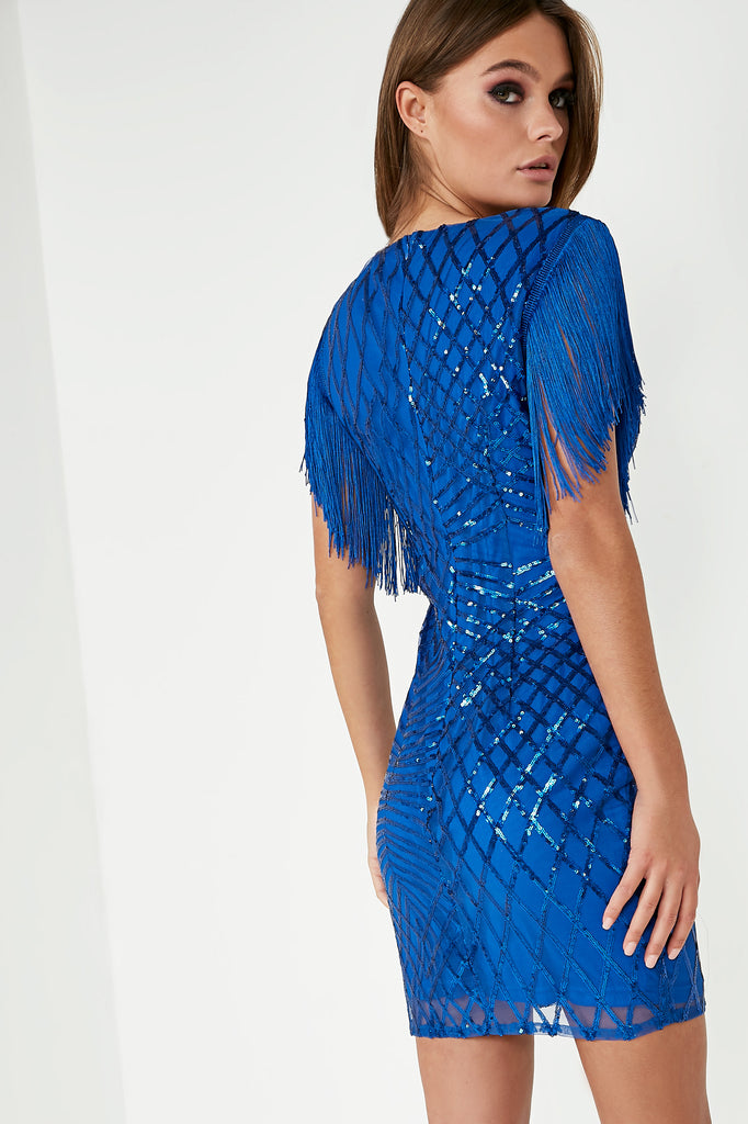 Eliza Blue Iridescent Sequin Tassel Dress