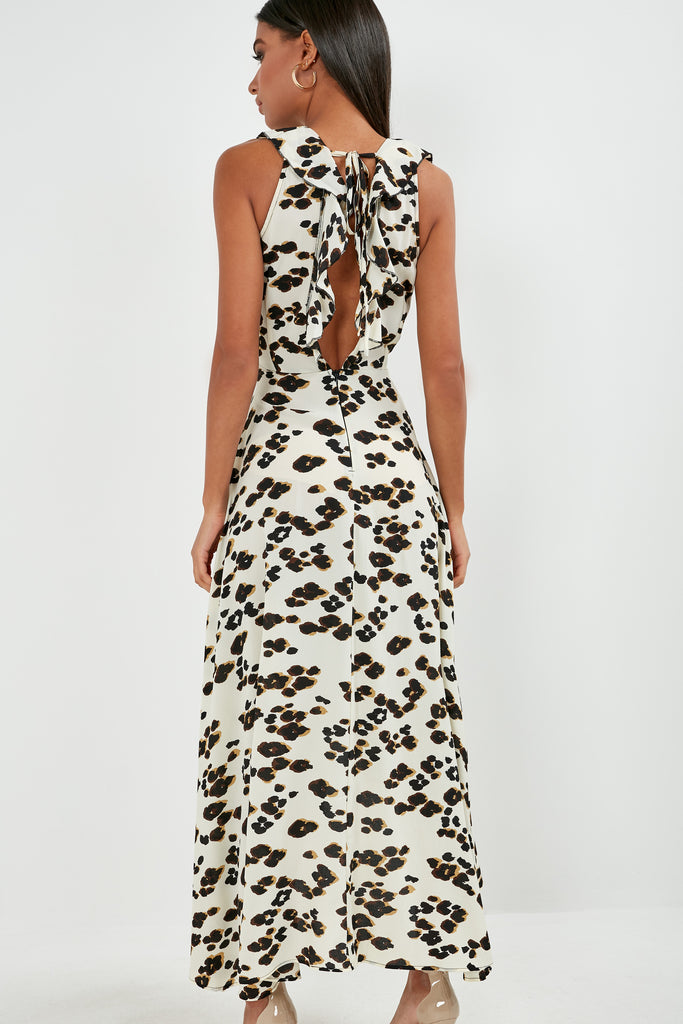 Elizabeth Cream Animal Print Frill Maxi Dress