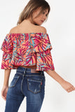 Ella Coral Tropical Print Crop Top