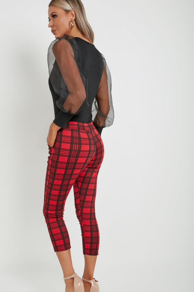 Ella Red Check Tailored Cropped Trousers