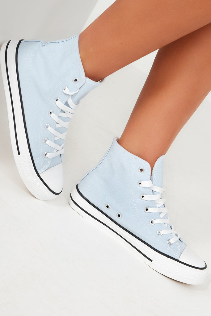 Ella Sky Blue Canvas High Top Trainers