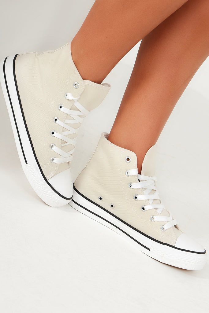 Ella Stone Canvas High Top Trainers
