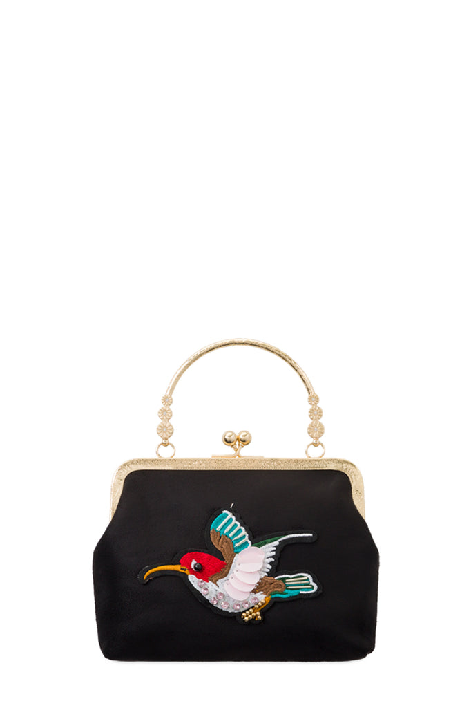Ellen Black Embroidered Clutch Bag