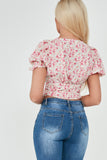 Ellen Pink Floral Puff Sleeve Crop Top