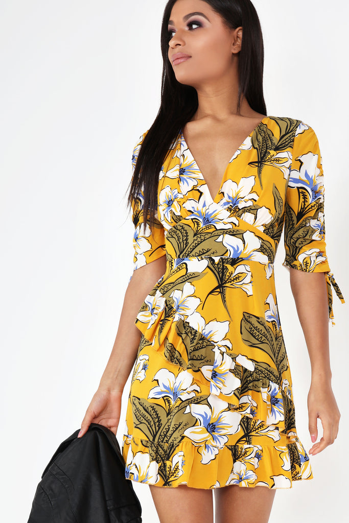 Ellenora Yellow Floral Frill Dress