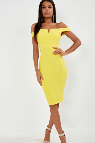 e27be2677f Ellie Yellow Bardot Midi Dress
