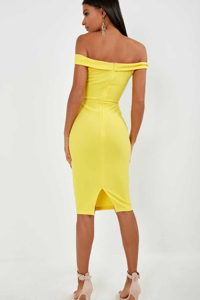 Ellie Yellow Bardot Midi Dress