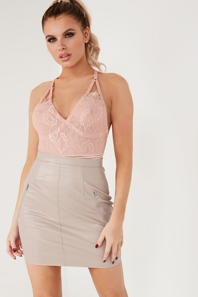 743ffcc8906f0 Ellora Dusty Pink Lace Cut Out Back Bodysuit | Vavavoom.ie