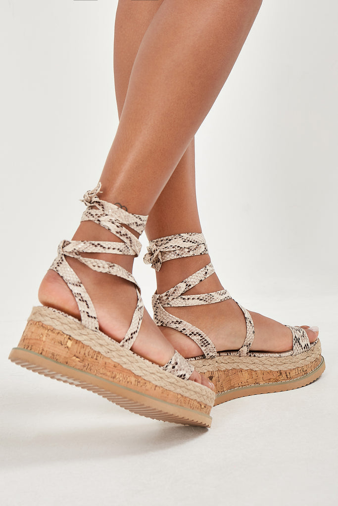 Elmay Cream Snake Print Wedged Sandals