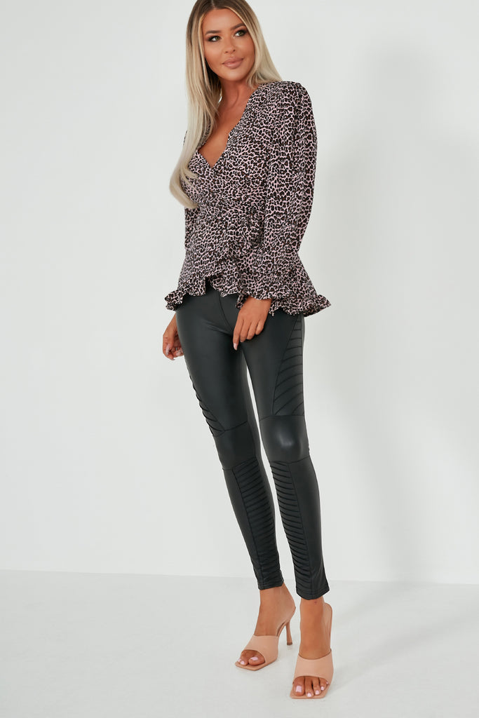 Eloise Pink Animal Print Wrap Top