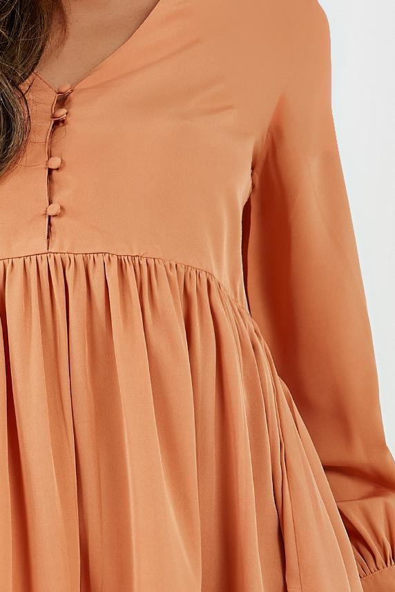 Elsa Apricot Long Sleeve Smock Dress (4308688306242)