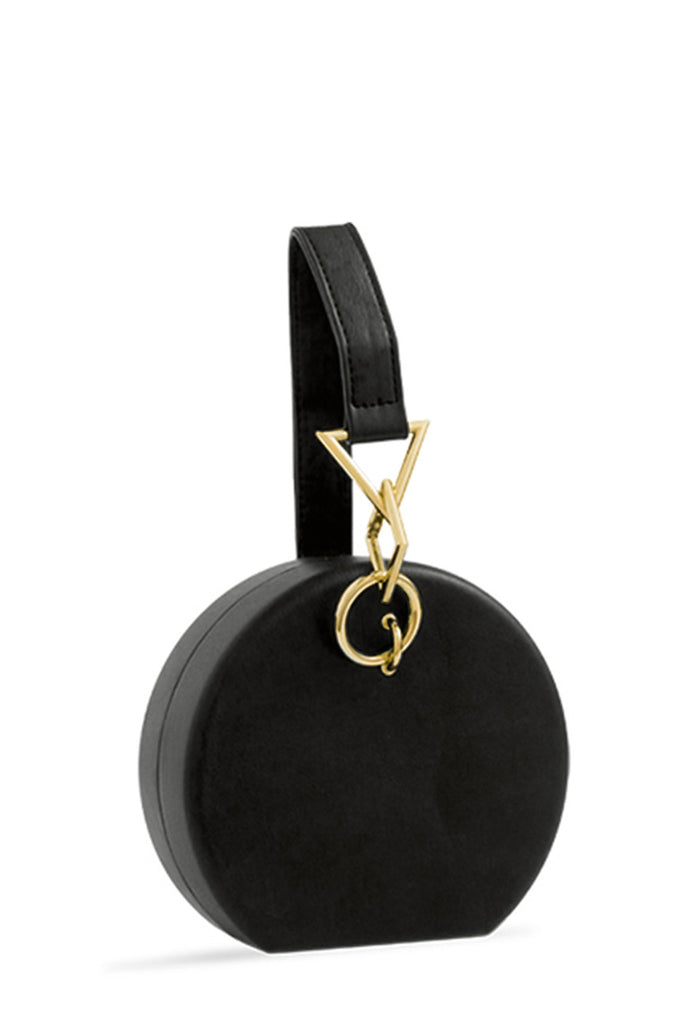 Elsa Black Leatherette Round Bag