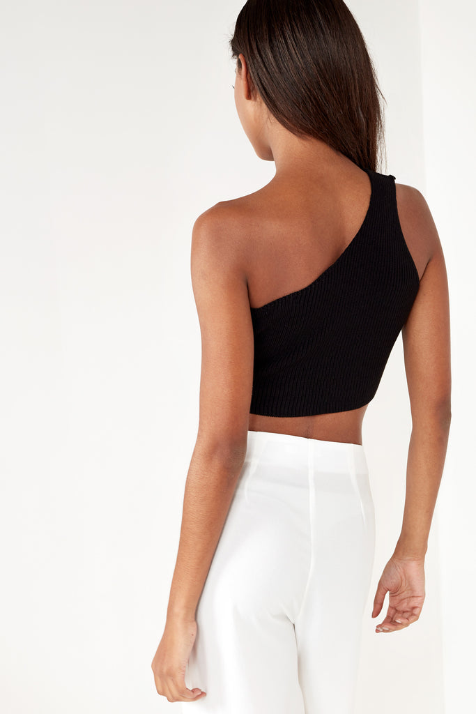 Elva Black Knit One Shoulder Tank Top