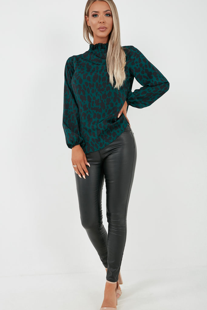 Ember Green Leopard Print High Neck Top (2010749042754)