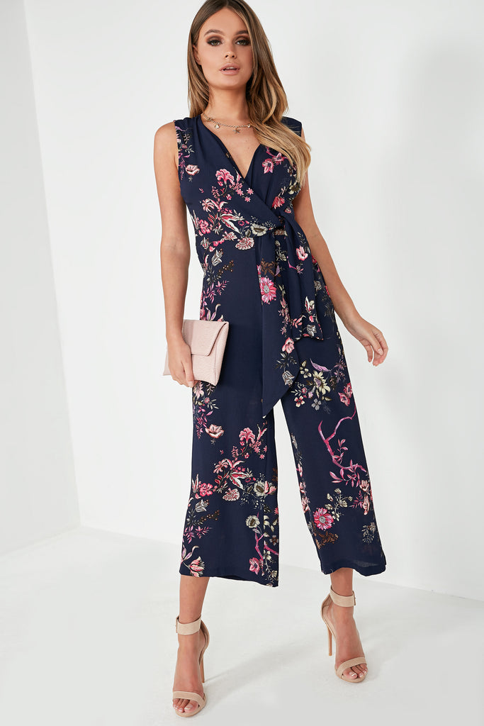 Ember Navy Floral Sleeveless Jumpsuit