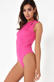 Emeli Pink Cold Shoulder Bodysuit